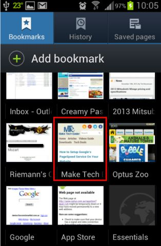 Scroll to the relevant bookmark and select the bookmark