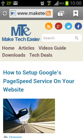 Navigate to the website in your mobile browser