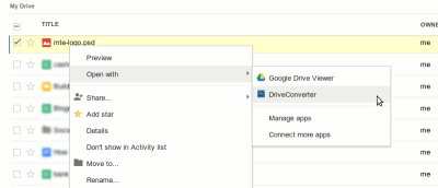 Converting Files In Google Drive With DriveConverter