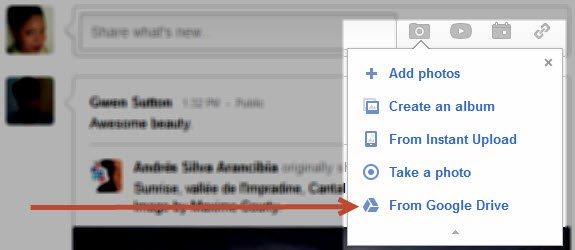 Click on the 'From Google Drive' option to upload photos from your cloud drive.