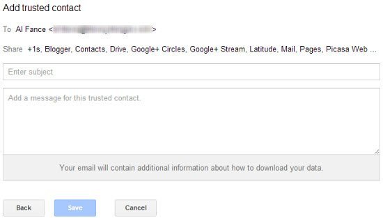 You can customize the email message sent to your trusted contacts.