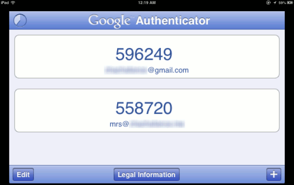 Google Authenticator on iOS