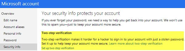 Go to Security Info to enable two-factor authentication.