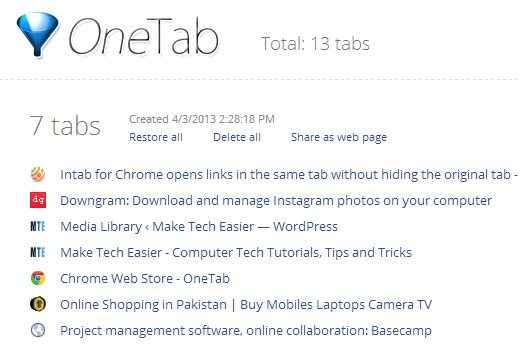 onetab-list-websites