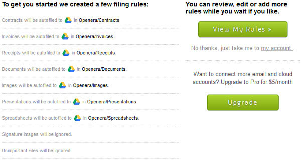 Openera will start you out with a few filing rules.
