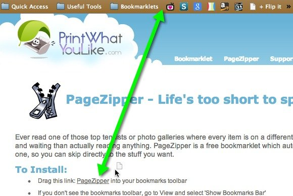 Drag the PageZipper bookmarklet to your bookmarks bar.