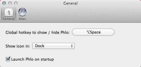 Set a keyboard shortcut for Phlo.