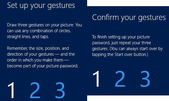 You must create 3 custom gestures and verify them.