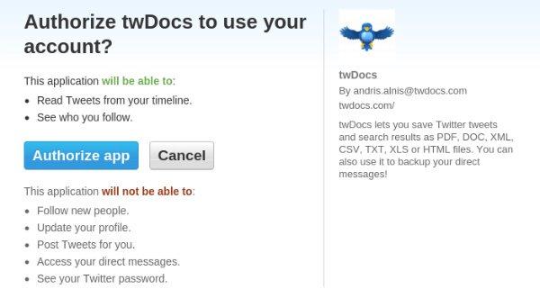 Authorize twDocs