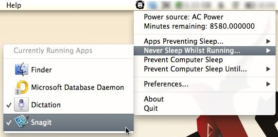 Choose the apps that must be running in order for your Mac not to go to sleep.