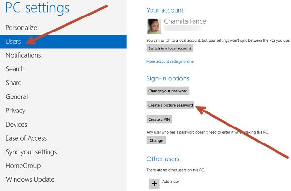 From PC Settings, click on Users and then on the Create a picture password button.