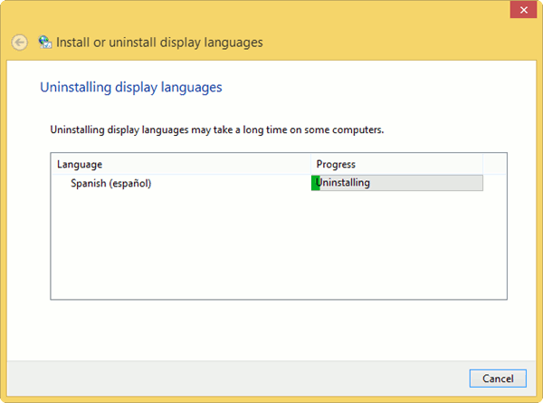 Removing language packs in windows 8