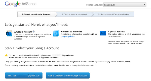 Google AdSense Register
