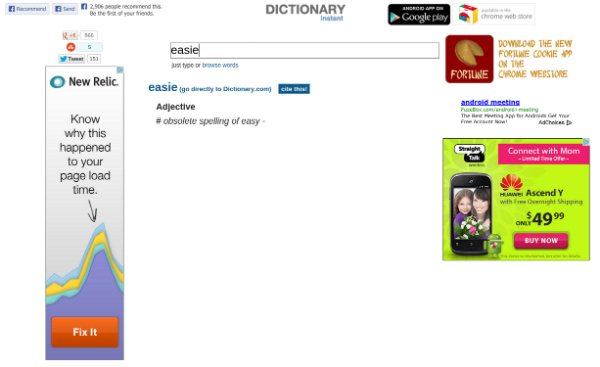 Dictionary Instant Chrome App