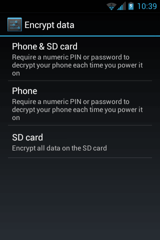 Encrypt Android Options