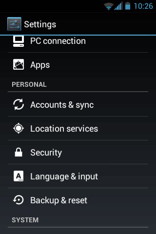 Android Settings Security