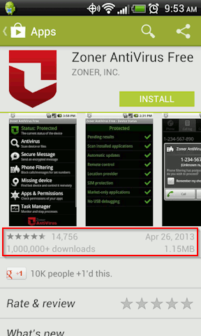 Check the date, ratings and downloads to avoid malware apps