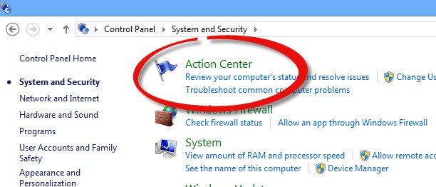 Open Windows Action Center under System and security