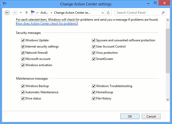 Windows Action Center messages