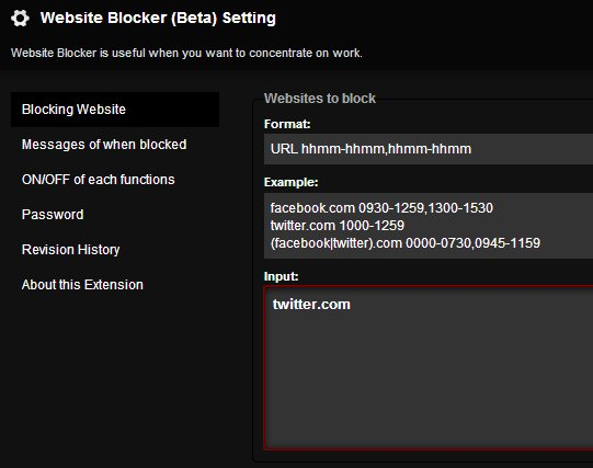block-websites-chrome-extension-settings