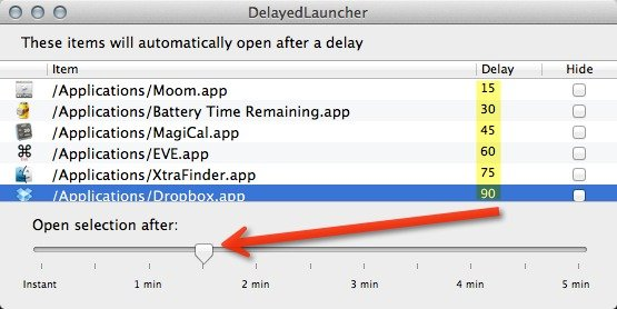 Customize the delay times for your login Applications.