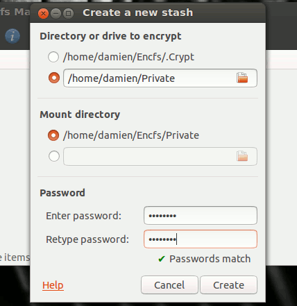 Options for creating encrypted directory in Ubuntu