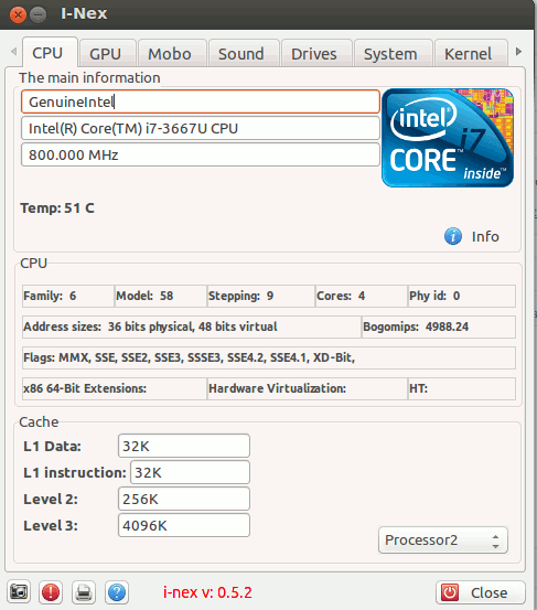 I-Nex showing CPU Info in Linux