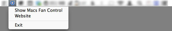 The Macs Fan Control menu bar icon menu.