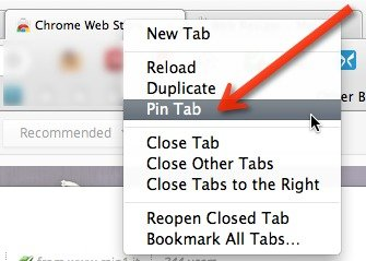 You can also right-click on a tab to pin it.
