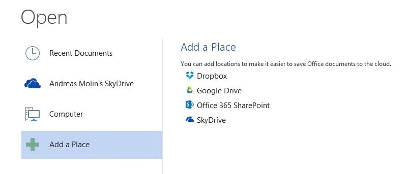 Adding Dropbox and Google Drive to Microsoft Office 2013