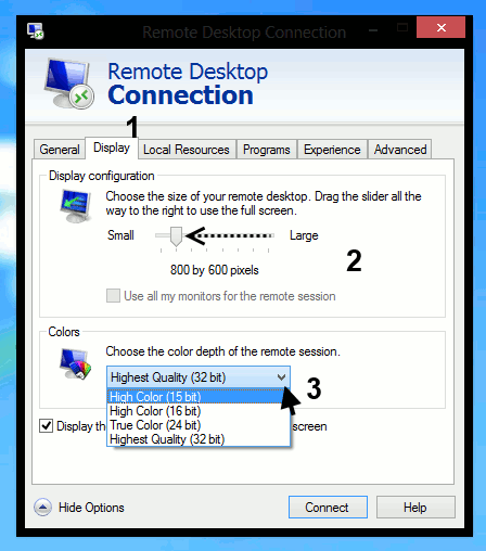 Remote Desktop Connections - display options