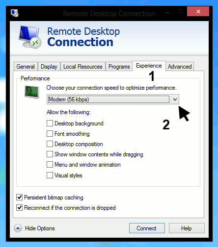 Remote Desktop Connections - show experience