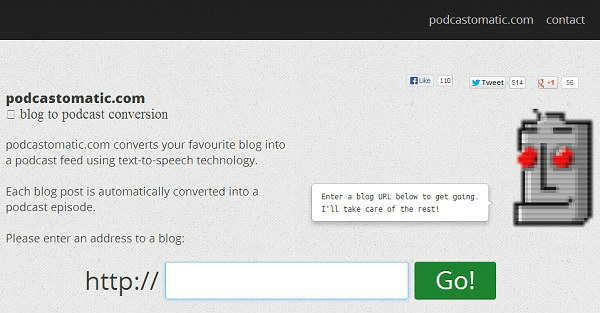 Convert blog to podcast - Podcastomatic