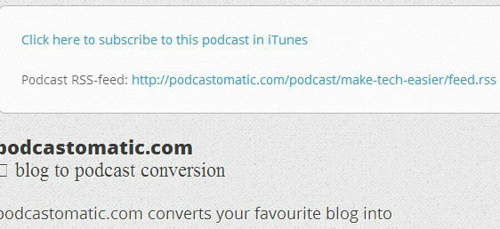 Podcastomatic Subscribe to RSS