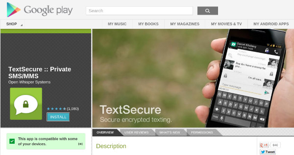 TextSecure Encrypted Text