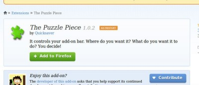 Easily Customize the Addon Bar In Firefox With Puzzle Piece