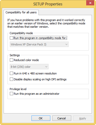 Windows 8 compatibility mode: compatibility-tab