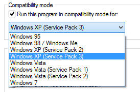 Windows 8 compatibility mode options