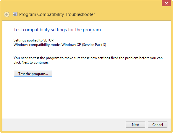 test settings in compatibility mode