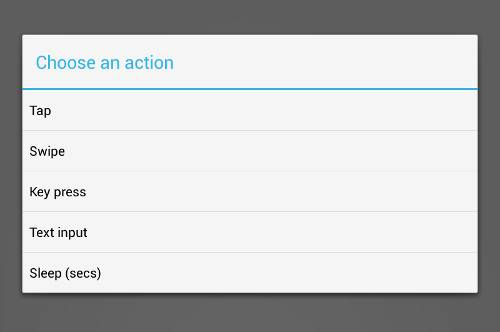 choice of actions for Android bot maker