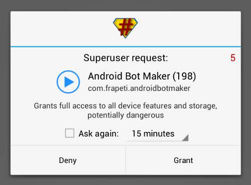 enable superuser permission for Android bot maker