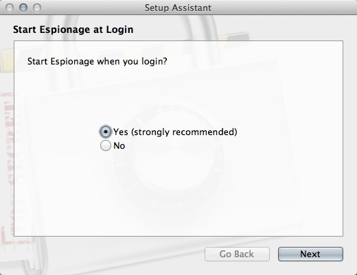 Choose whether or not to start Espionage at login.