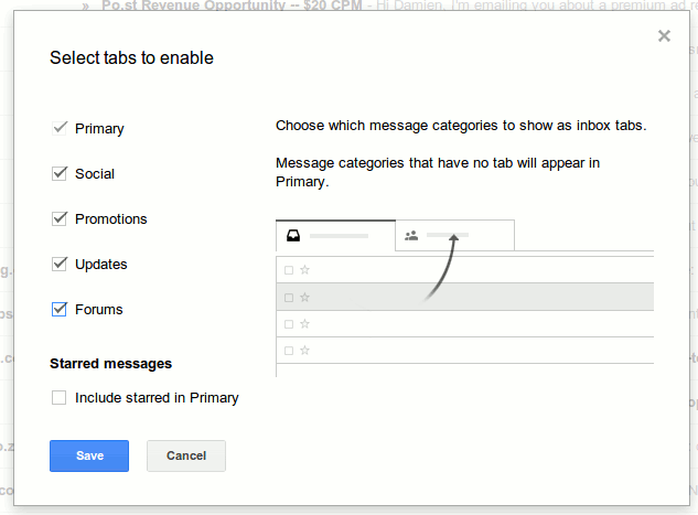Select tabs to activate tabbed inbox in Gmail