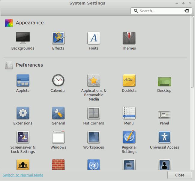 Linux Mint 15 cinnamon-control-center
