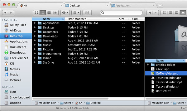 Get tabs in Mac OS X Finder for free with XtraFinder.