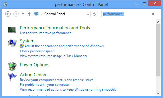 Windows 8 Performance Monitor Control Panel
