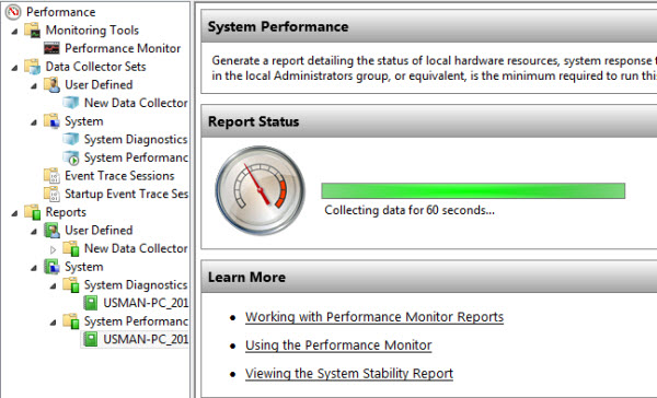 Windows 8 Performance Monitor monitoring
