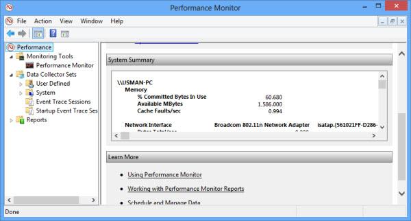 Windows 8 Performance Monitor summary