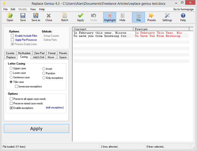 Open file in Replace Genius