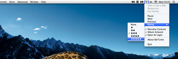 BarTunes allows you to control iTunes from your Mac's menu bar.